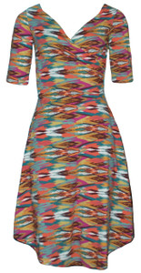 Southwest multi color blue red brown yellow orange ethnic print sleeved wrap dress