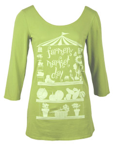 Apple green white Farmer's Market 3/4 sleeve cotton tee