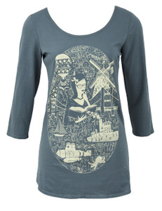 Grey white library girl books 3/4 sleeve cotton tee top