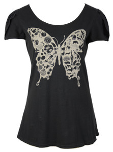 Black white cotton butterfly animals tee
