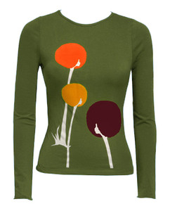 Olive green fuzzy Afro floral dandelion long-sleeved tee