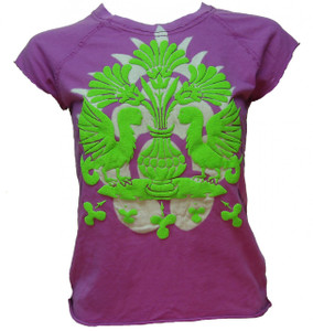 Purple lime green puff ink Victorian griffin tee
