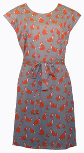 Adorable grey and orange fox belted tunic dress