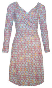 Light blue sleeved Moroccan medallion tile print bamboo wrap dress