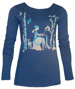 Navy aqua gray knitting girl long sleeved cotton tee