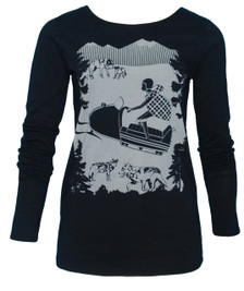 Black snowmobile girl long-sleeved women's tee top