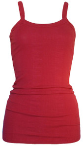Cherry red spaghetti strap extra long ribbed tank top