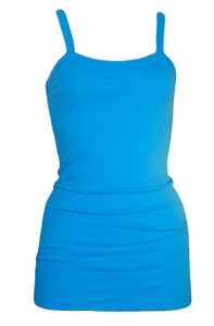 Bright blue spaghetti strap extra long ribbed tank top