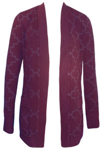 Deep plum purple trellis print French terry cardi cardigan sweatshirt