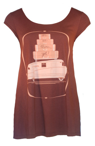 Brown peach white camper trailer motorhome suitcases camping shirt
