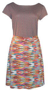 Knee length casual knit southwest and calico print-blocked dress
