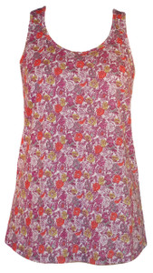 Purple yellow green red small floral calico racerback tank top