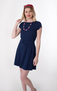 Soft navy blue knit twist belt solid knee length dress