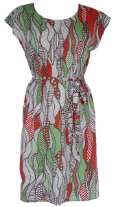 Orange green white tribal leaf print belted tunic dress
