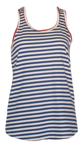 women's navy white red striped cotton racerback tank top