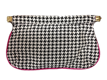 Black white pink satin lined houndstooth clutch purse