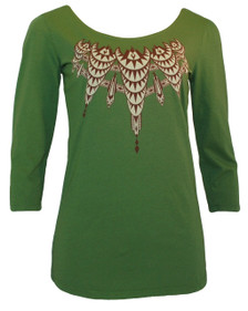 Olive green white brown eagles art deco trompe l'oeil pattern 3/4 sleeve tee top