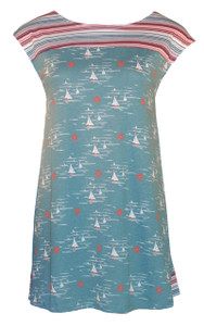 aqua nautical print-blocked sailboat stripe top front view