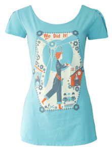 Aqua blue red gray Rosie the Riveter woman factory worker World War 2 flutter sleeve tee