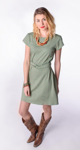 Green rust geometric small dot print twist belt dress on model