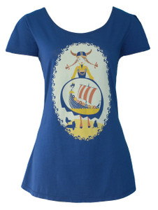 Deep navy blue yellow red white viking girl cotton tulip sleeve tee