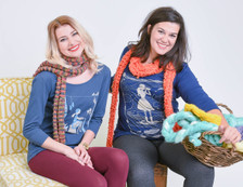 Navy whale watcher top and navy knitting top
