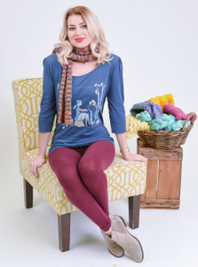 Faded navy 3/4 sleeve knitting with kitties scoop neck tee