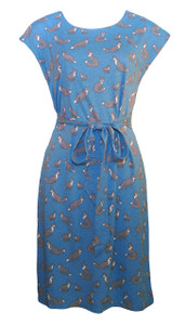 Teal blue gray fox print belted tunic dress