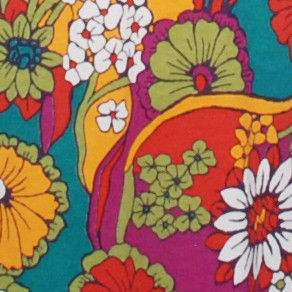 Multi-colored red orange pink green floral belted tunic