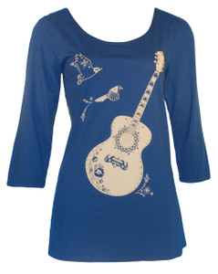 Navy white guitar print 3/4 sleeve scoopneck tee