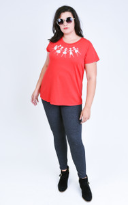 Red quirky red graphic paper dolls t-shirt