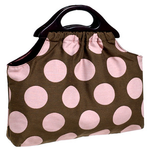 Brown Pink Polka Dot Upholstery Fabric Knitting Bag