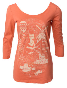 Bright orange scoop neck ballet tee with library girl reading graphic