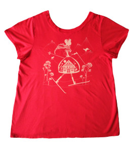 Red plus size ski betty short-sleeved tee