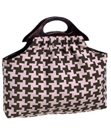 Brown pink houndstooth knitting bag