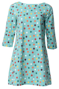 Jade, emerald, red, yellow, white multi-dot tunic dress
