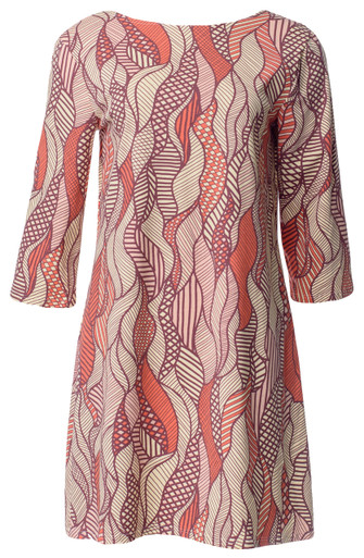 Tribal leaves pink orange yellow brown print 3/4 sleeve boatneck scoop back tunic dress