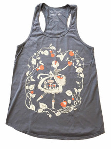 Grey white red apple picker racerback tank