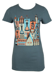 Grey blue red board game chess checkers queen graphic tee top