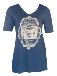 Fascinating Platypus in Vintage Navy V-Neck