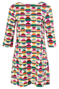 Multi colored striped dot sleeved tunic dress