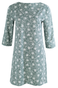 Sage white grey green floral flower tunic dress