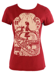 Red sewing crafting woman red tee tshirt top