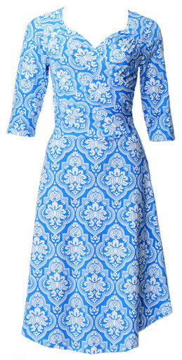 Bright cornflower blue and white handkerchief geometric Spanish tile Victorian floral print sweetheart sleeved wrap dress
