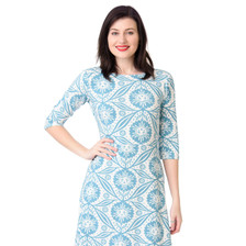 Turquoise blue white large floral sunflower print quirky knit vneck dress