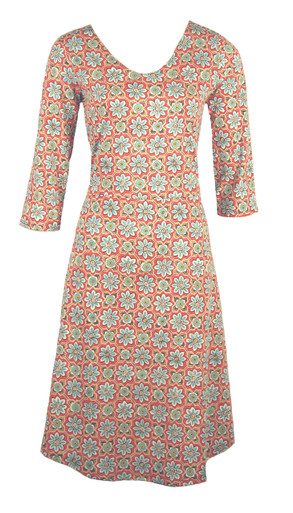Blue rust daisy tile small floral print v-neck casual knit dress