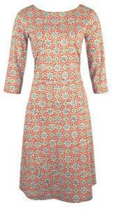 Blue rust daisy tile small floral print boat neck casual knit dress