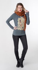 Quirky grey orange white artist girl pullover French terry sweatshirt