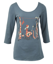Grey red white quirky knitting kittens cats trees forest scoopneck cotton shirt