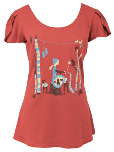 Red blue gray white quirky cotton petal sleeved cotton graphic tee